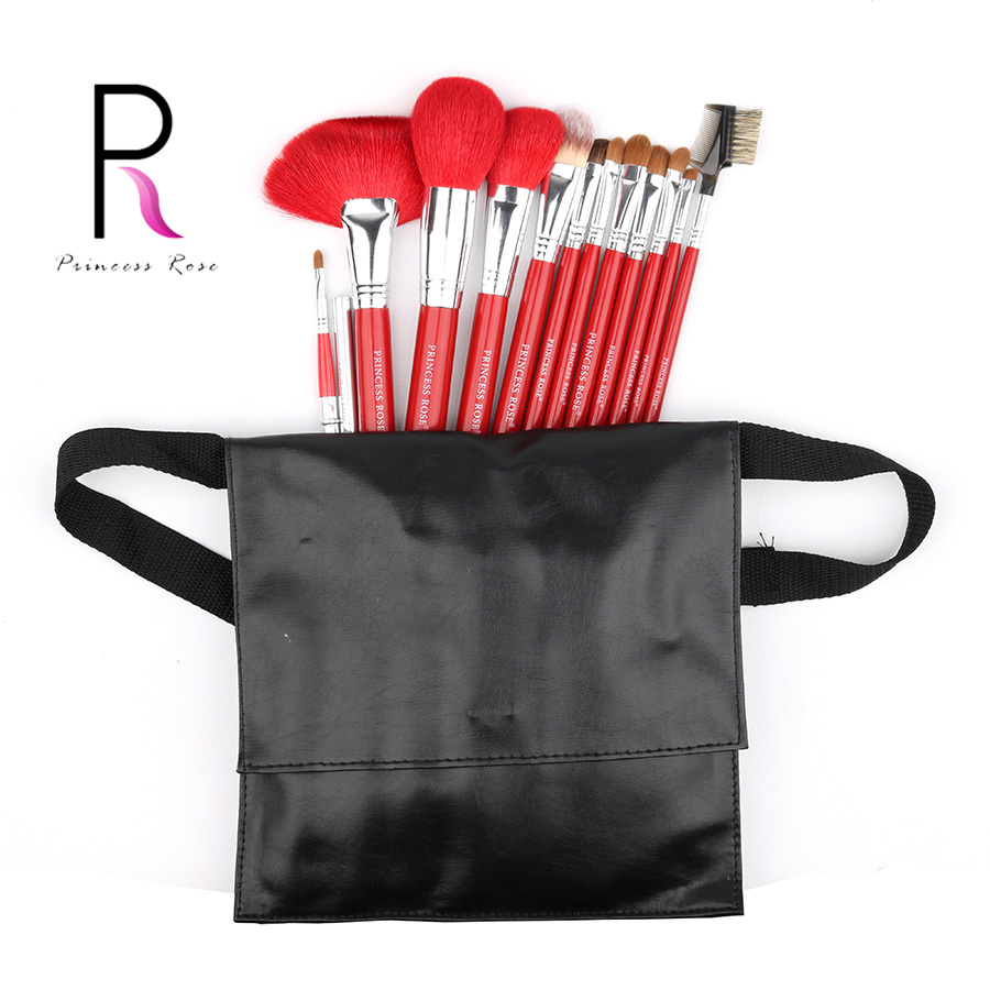 Princess Rose  12pcs Professional Full Make Up Makeup Brushes Set with Bag Goat Horse Hair +Weasel Foundation Powder PR12RB princess pr 1300