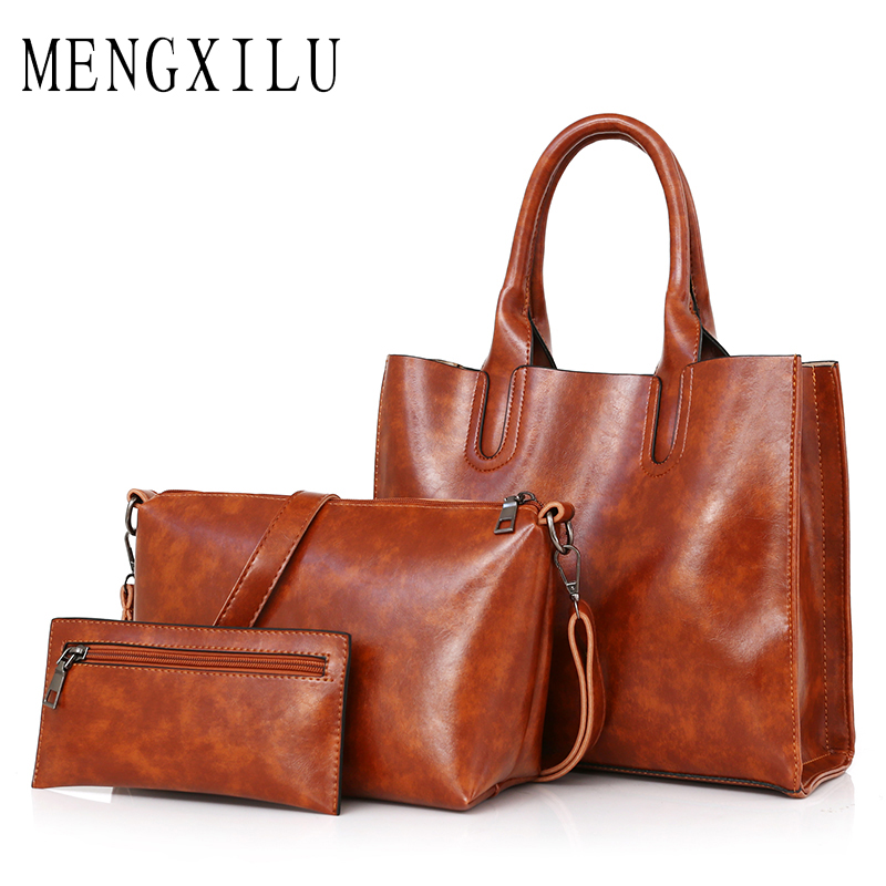Women's Handbag High Quality Pu Leather Women Bags Handbags Women Famous Brands Big Casual Tote Bag Ladies Shoulder Bags 3 Set casual simple cowhide tassel designer handbags high quality bags handbags women famous brands women leather handbags office tote