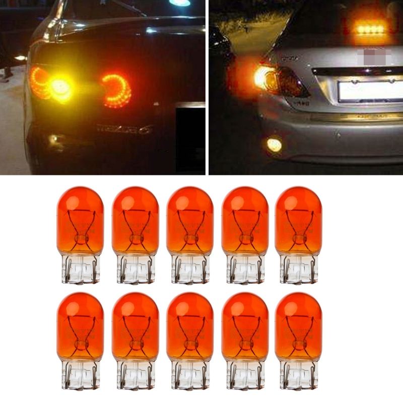 10pcs T20 W21/5w 3800k Glass Drl Turn Signal Stop Brake Tail Light Bulb Amber Light 7443 Halogen Bulbs Indicators Lights Yellow Novel Design; In