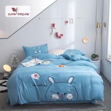 SlowDream Blue Cotton Bedding Set Rabbit Bedspread Flat Sheet Pillowcase Bed Linens Duvet Cover Decorative Bedclothes