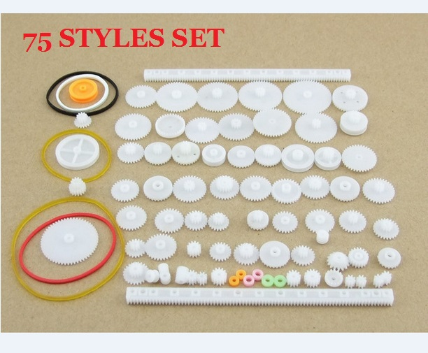 75 pcs/lot Plastic Gear Set DIY Rack Pulley Belt Worm Single Double Gears All The Module for DIY ...