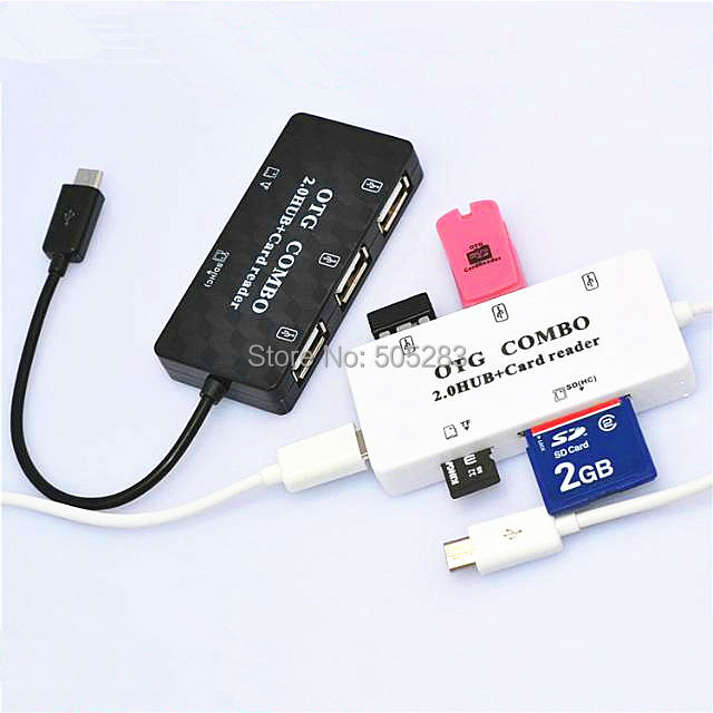 Combo Mobile Phone Micro USB OTG Hub Micro USB Cable Card Reader Data Charger Adapter For Computer Samsung Galaxy S3 S4 S5 HY335 usb hub aluminum 5gpbs usb 3 0 hub splitter adapter usb3 0 hub usb 3 0 card reader support sd micro sd tf cf card