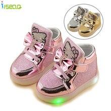 Kids girl luminous sneakers Shoes Spring Hello Kitty Rhinestone glowing Shoes for Girls Princes led sneaker children  EU 21-30