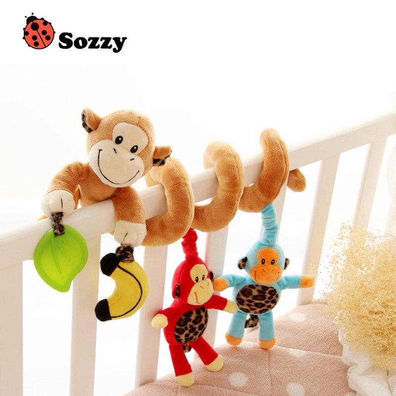 Baby Plush Rattle Crib Spiral Hanging Mobile Infant Stroller Bed Animal Toys Gift For Newborn Children 0-12 Months Happy Monkey #6
