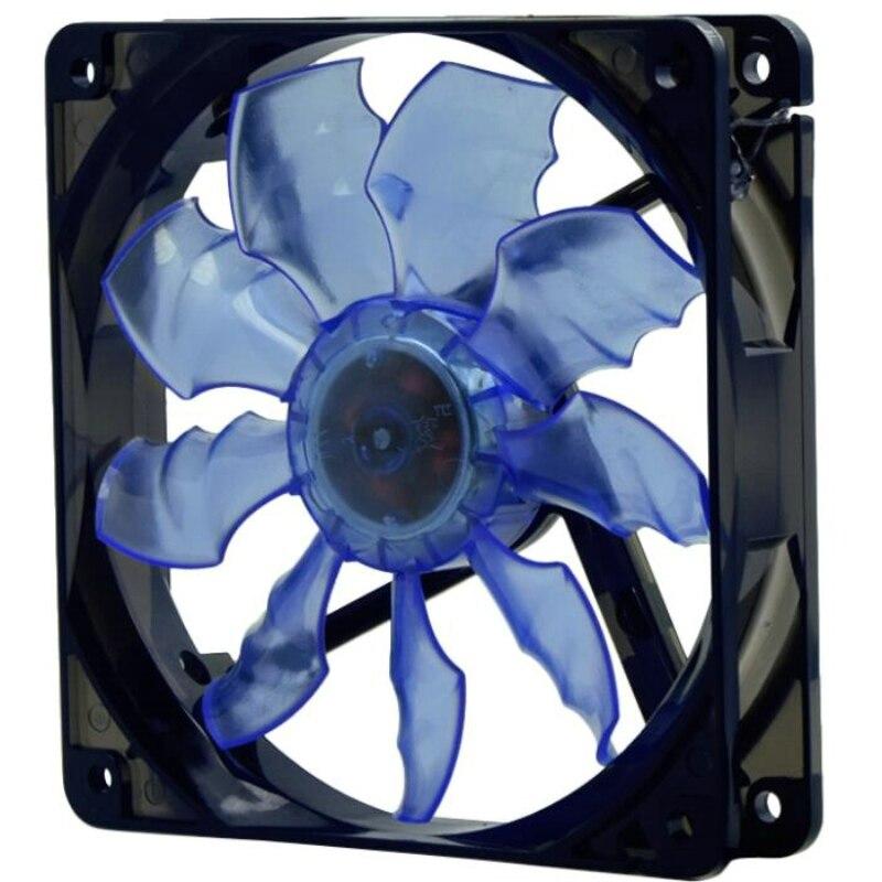 Arsylid TW-1225L haute qualité 12 cm 120mm LED fan bleu rouge couleur LED lumière de refroidissement ventilateur pour boîtier de l'ordinateur