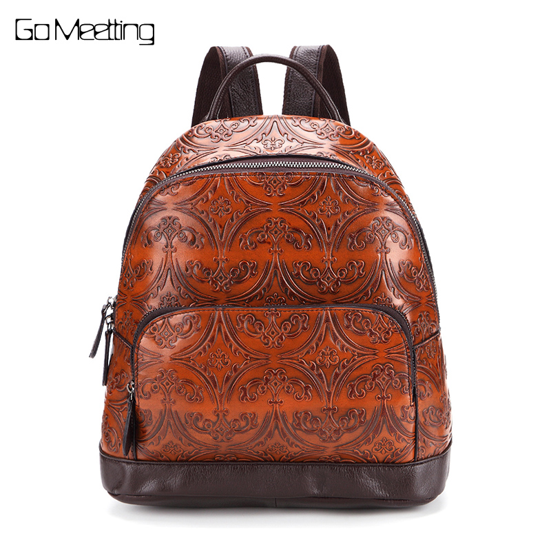 New 2017 Vintage Genuine Leather Women Backpack Embosed Cow Leather Ladies School Bag High quality Panelled Travel Backpacks high quality genuine leather women backpacks female embossed flower backpack school bag vintage coffee ladies travel bags l0244