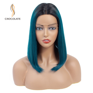 Short Bob Wig Peruvian Straight Lace Human Hair Wigs Hair Remy Lace Wig Ombre Green Color Middle Hairline Wig(China)