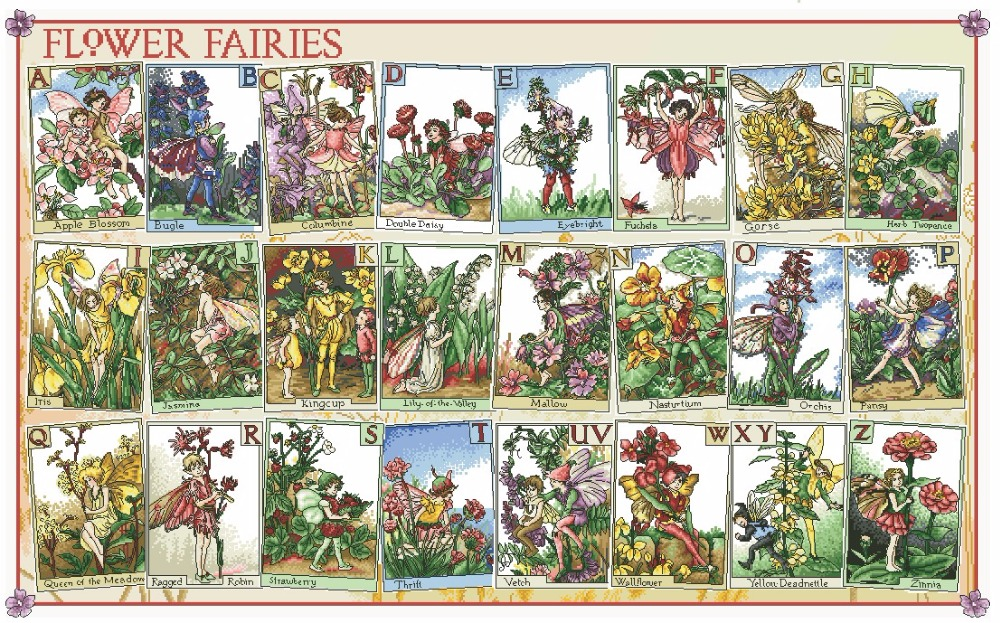Top Quality Beautiful Lovely Counted Cross Stitch Kit Flower Fairies Alphabet Alphabetic Letters Words