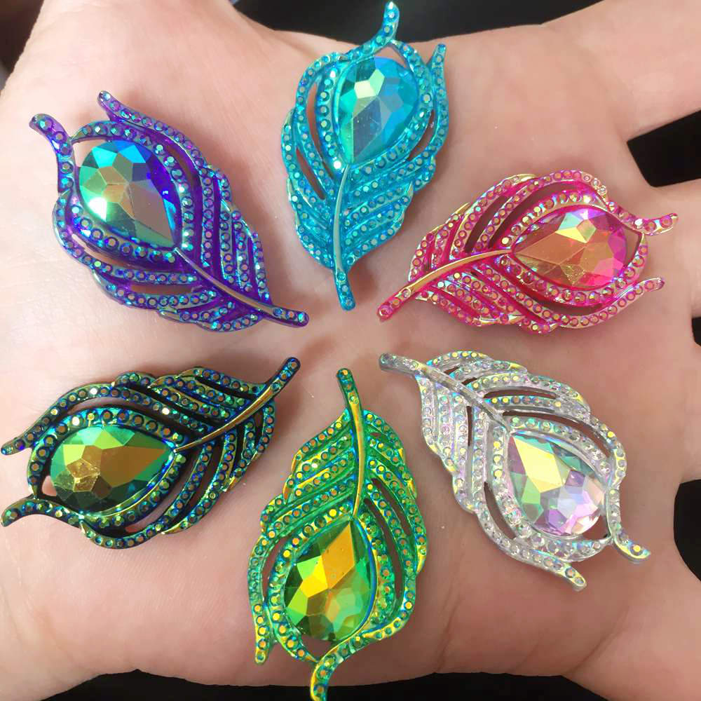 10PCS  AB Resin 3D Peacock Feathers Flat back rhinestone scrapbook DIY Wedding buttons for clothing appliques  SW19*2-in Rhinestones from Home & Garden