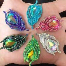 Resina AB de plumas de pavo real en 3D para álbum de recortes, diamantes de imitación con parte trasera plana, chapas de boda, apliques de ropa, SW19 * 2, 10 Uds.