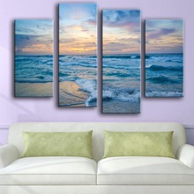 Special Offer Modern New Product Print Painting Wall 4 Pcs Foaming Sea Night Surf Art Picture For Living Room Free Shipping