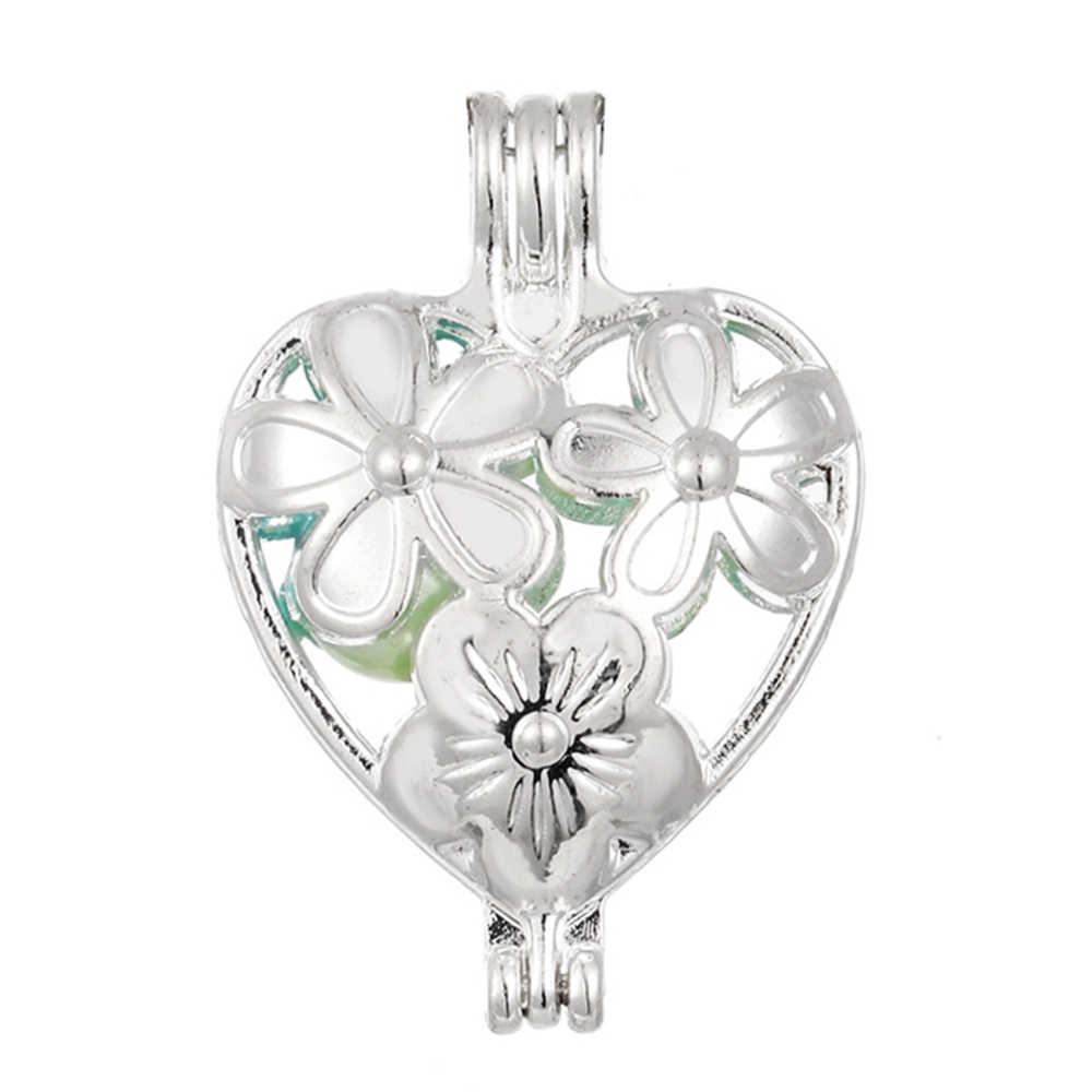 10 pcs เงินดอกไม้หัวใจ Pearl Cage เครื่องประดับทำลูกปัดจี้ Aroma น้ำมันหอมระเหย Diffuser Locket สำหรับ Oyster pearl