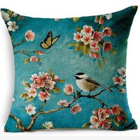 Chinese Style Linen Cushion Cover Oil Painting Creative Printed Bird Flower Blue Square Sofa Pillow Case