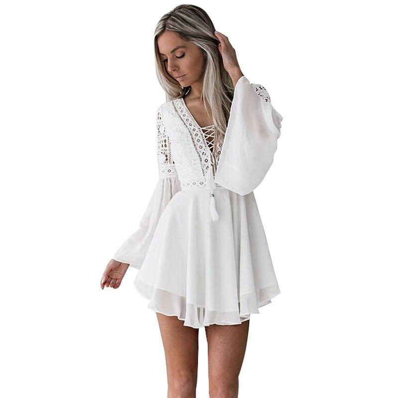 Hollow Out White Dress Sexy Women Mini Chiffon Dress 18