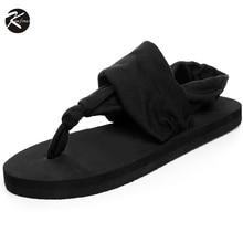 Bohemia Type Summer time Style Flip Flops Ladies's Seashore Sandals Black Elastic Bands Flat Sneakers Gladiator Sandalias for Ladies