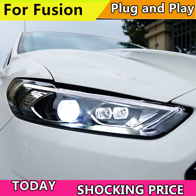 Car styling for fusion headlight LED HID 2013-2015 LED headlights Head Lamp case for Ford mondeo Bi-Xenon mondeo Lens low beam car styling led head lamp for opel mokka headlights 2013 2014 mokka led headlight led drl h7 hid bi xenon lens low beam
