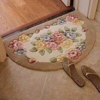 WINLIFE pół kształt zaokrąglony wycieraczki kwiatowy wzór dywaniki do sypialni/Bathroo/kuchnia non silp maty obok miękkie dywaniki 40CM * 60CM w Dywany od Dom i ogród na