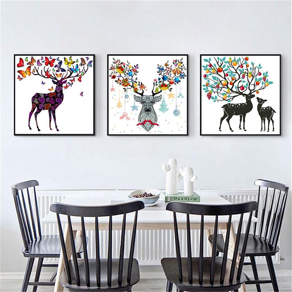 Butterfly Home Decor: Modern Minimalist Deer Head Wall Decor Skull Flowers