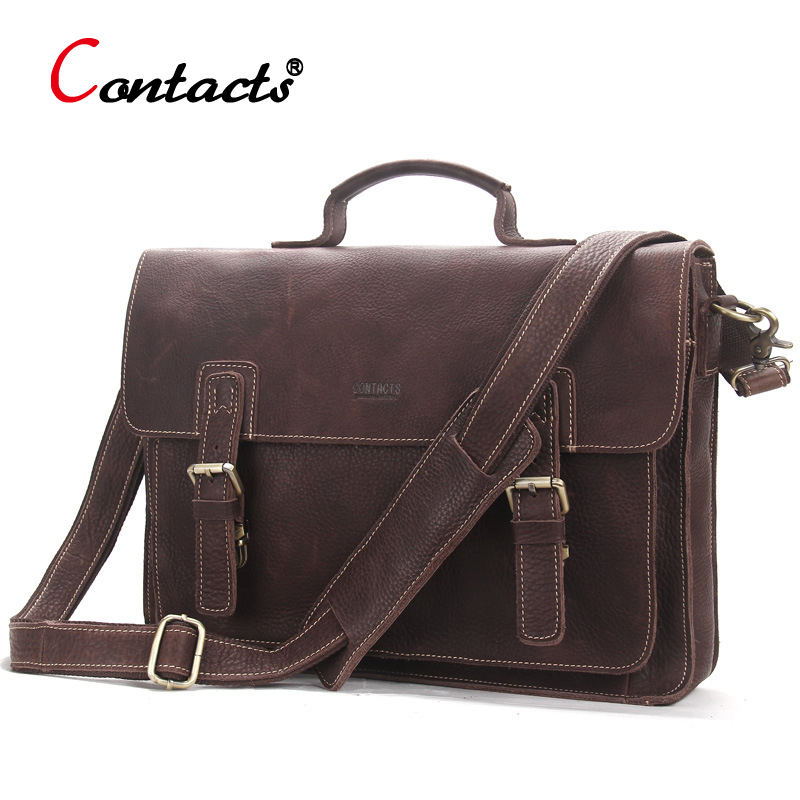CONTACT'S Genuine Leather bag Men handbag male messenger Shoulder Bag Vintage Business Laptop Briefcase Large Capacity Bolsa