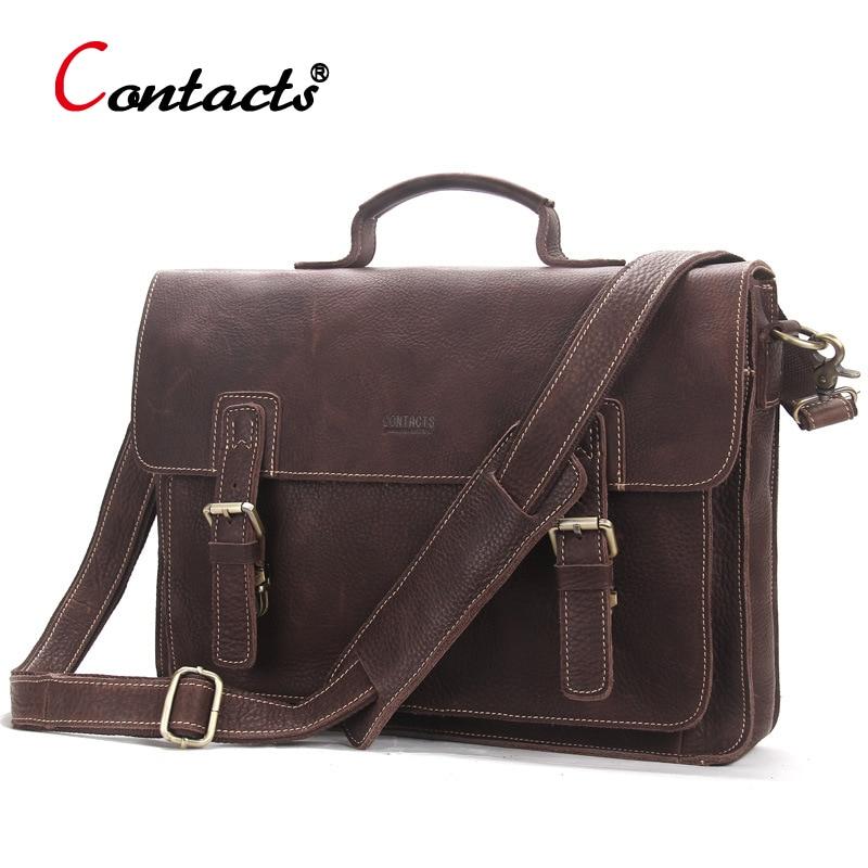 CONTACTS Genuine Leather bag Men handbag male messenger Shoulder Bag Vintage Business Laptop Briefcase Large Capacity Bolsa