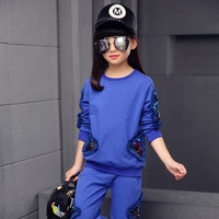 Children Clothing Sets For Girls Spring Autumn Kids Sequined Sports Suits Teenage Girl Tracksuits Sportswear Girls Kids Set Q120