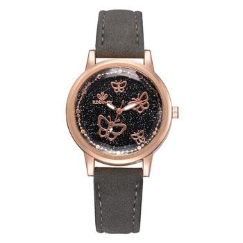 цена butterfly dial brief style women watches Korean version casual quartz woman clock brand ladies retro wristwatches leather band онлайн в 2017 году