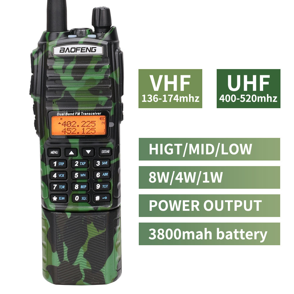 Image 2 - Baofeng UV 82 camo Walkie Talkie 8Watt powerful UHF VHF Dual Band  3800mAh 10KM Long Range UV 82 for hunting hiking Two Way RadioWalkie  Talkie