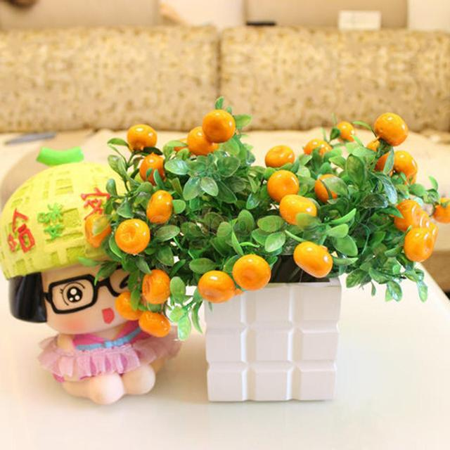 Artificial 7 Branch Lucky Fruit Orange Plant Fake Foliage Home ...