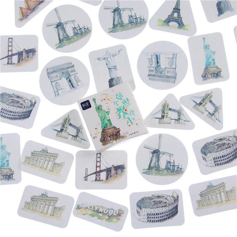 45PCS/box It's A Small World Scrapbook Paper Lable Stickers Crafts And Scrapbooking Decorative Lifelog Sticker Cute Stationery
