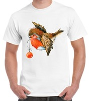 Create Your Own T Shirt DesignMen S Short Funny Crew Neck Christmas Robin With Bauble Cute
