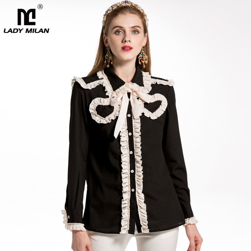 New Arrival 2018 Spring Summer Womens Turn Down Collar Long Sleeves Ruffles Lace Up Fashion Designer Shirts