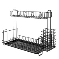 Double Layer Stainless Steel Tableware Storage Rack Holder shelf Dish Drain For Kitchen Storage Racks Holders Tools shelfs new