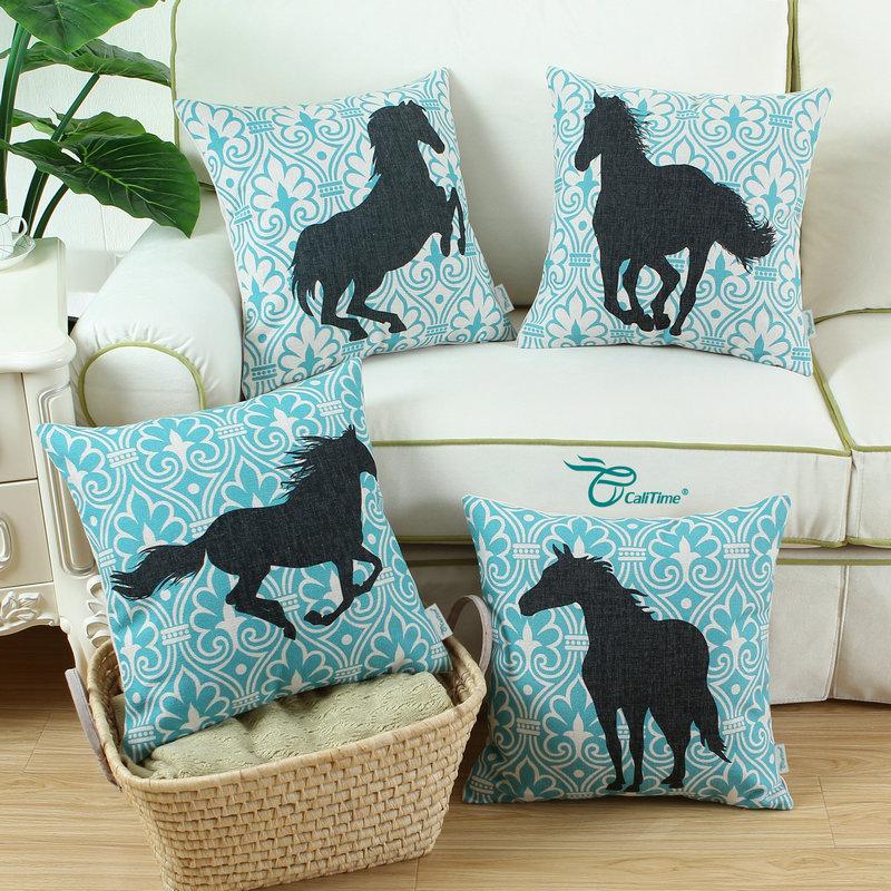 "calitime декоративные подушки в виде ракушки чехол для подушки домашний диван Ширак цифры лошадь 18 ""х 18"