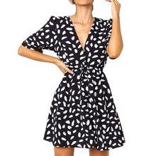 Sexy Polka Dot Mini Women Dress V-Neck Short Sleeve A Line Female Summer Boho Style Vintage Beach Sundress Vestidos 2019