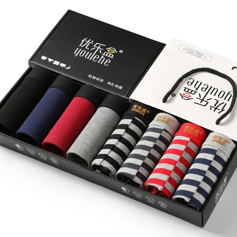 Youlehe 8pcs Soft Cotton Men's Boxer Shorts Men Underwear Sexy Trunks Underpants 3D U Convex Boxers Comfortable Homme Cuecas