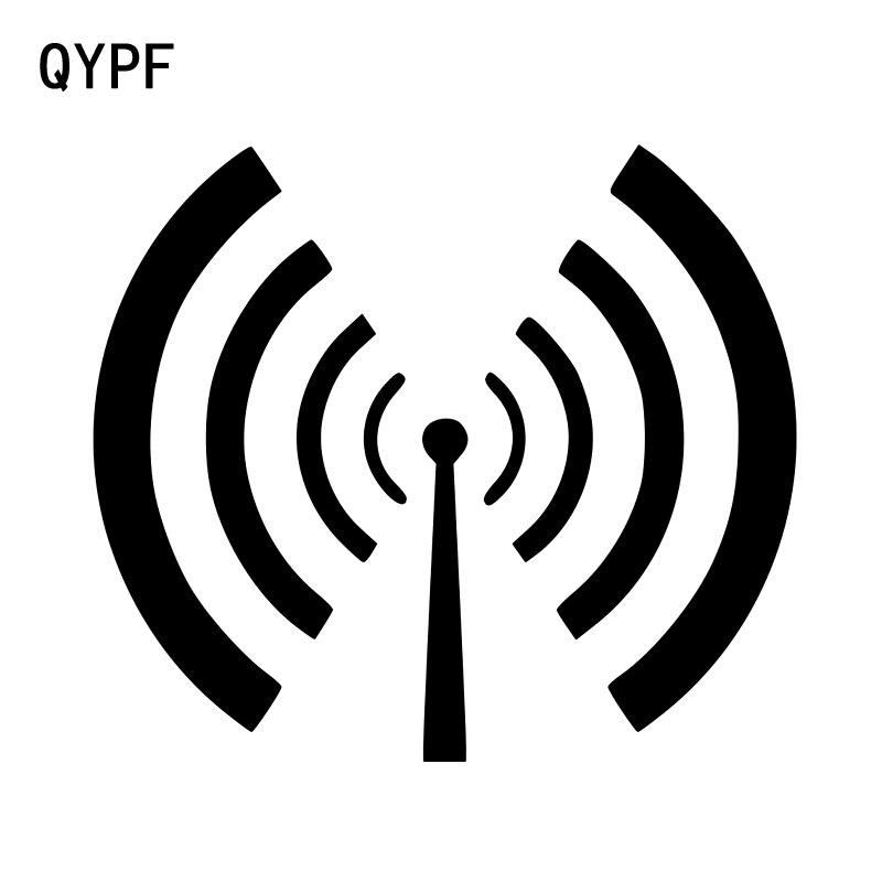 QYPF 12.3CM10.8CM Radiation Signal Warning Graphic Car Sticker Black/Silver Vinyl Decoration S9-2256