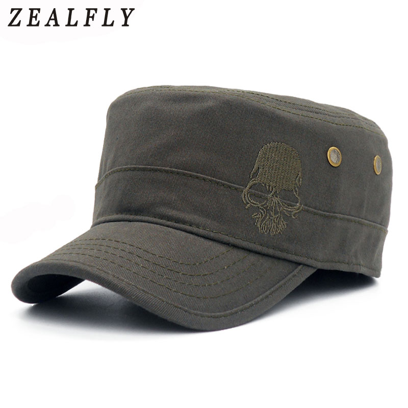 High Quality Skull Embroidery Men   Baseball     Cap   Outdoor Casual Sun Flat Hats For Women Unisex Adjustable Gorras Planas Hip Hop