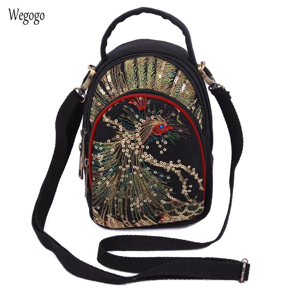 2018 Новый Для женщин Курьерские сумки Национальный блесток павлин вышивка мини холст три молнии мобильный телефон портмоне сумка