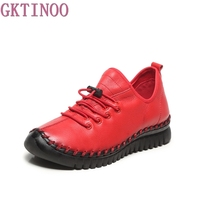 GKTINOO Genuine Leather Flats Shoes For Women Round Toe Lace Up Casual Shoes Spring And Autumn