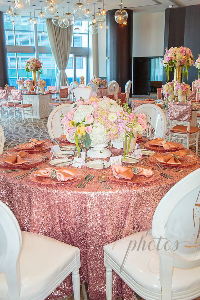 96 inch round tablecloth - Wholesale Christmas 132 Round Wedding Party Pink Gold Sequin Table Cloth For Wedding