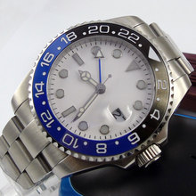 43mm Bliger White Sterile Dial no logo GMT Date Sapphire Glass Luminous ceramic bezel Deployment Automatic Movement mens Watch