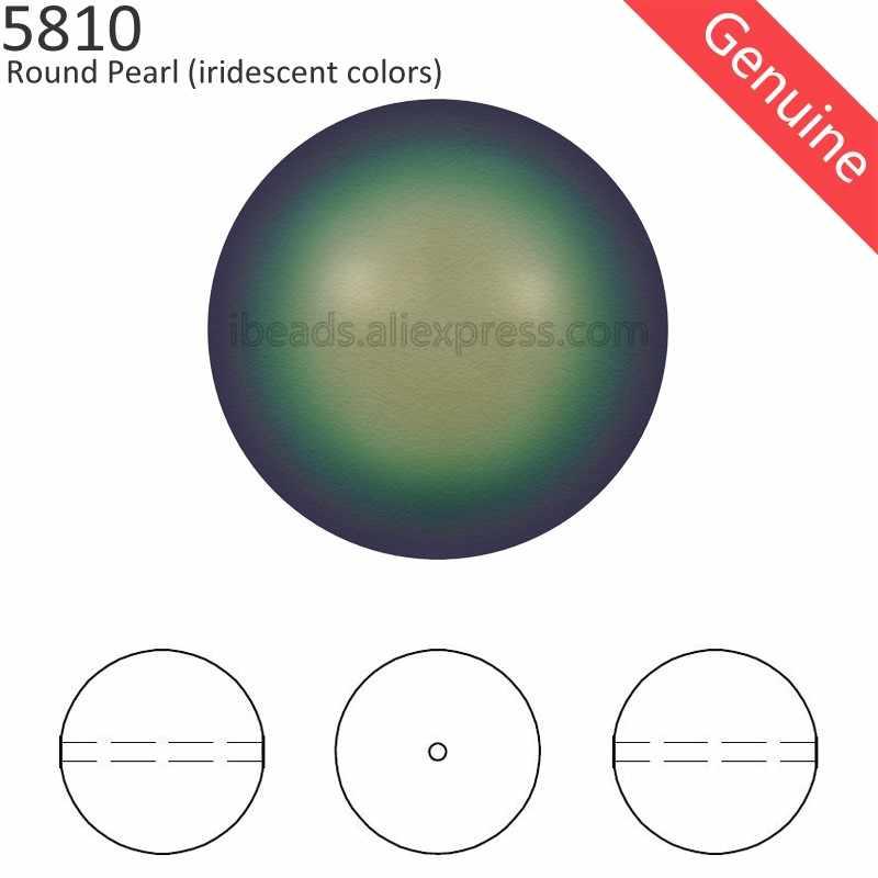 100% Originele Crystal Van Swarovski 5810 Iriserende Kleur Serie Parel Vol Geboord Gat Voor Kralen Armband Sieraden Montage