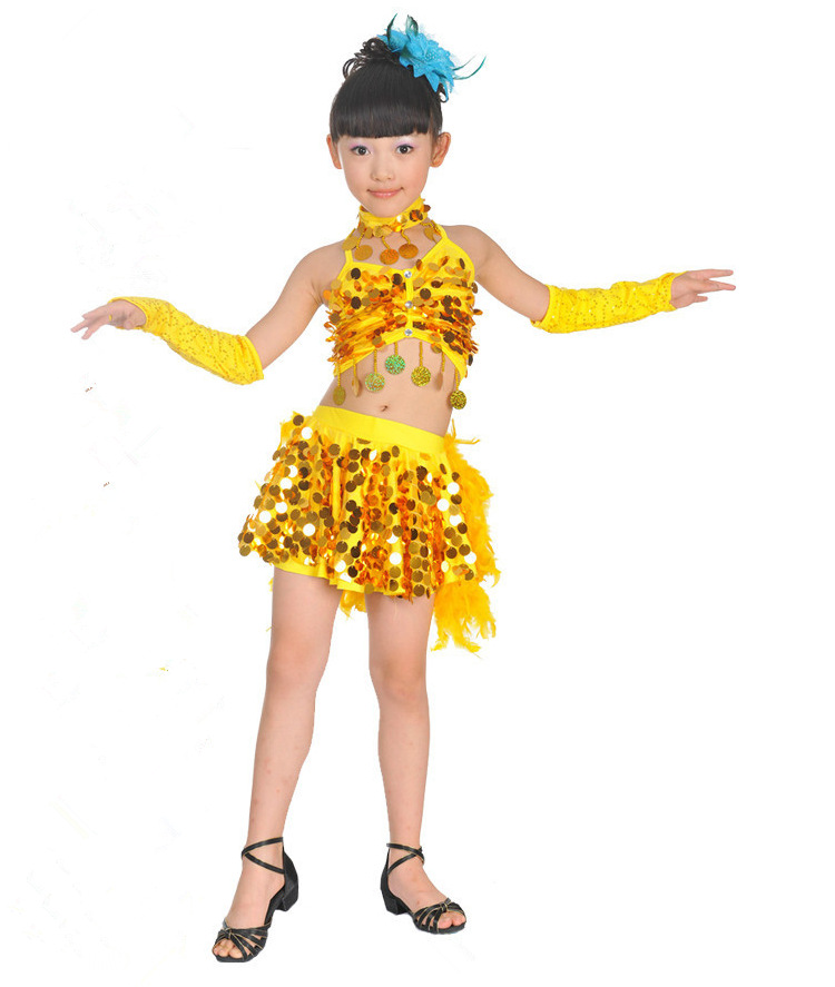 5pcs Girls Party Dance Costume Children Sequins Dress Tasseled Latin Salsa Dancewear Kids Dresses set 3colors 100 160cm height kids child girls tassel dress ballroom latin salsa fashion dancewear dance costume dresses gifts