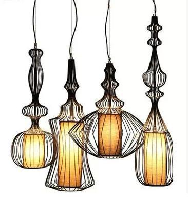 ФОТО Black & White Wrought Iron cage Lights creative vintage birdcage Ceiling light decoration restaurant lamp bedroom foyer lamps