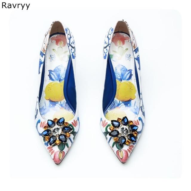 Woman s high heels flower paint sexy pump Blue rhinestone female party  dress shoe pointed toe slip-on stilettos single shoe a0b57b1b3a82