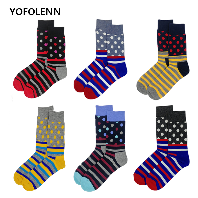 6 pairs/lot Fashion Mens Combed Cotton Long Men Socks Set Colorful Funny Wedding Business Happy Socks Meias Calcetines Hombre
