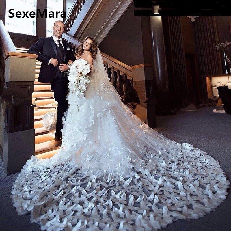 Luxe nouveau 3D papillon blanc ivoire mariage voiles longue cathédrale longueur peigne 2 niveaux couverture visage