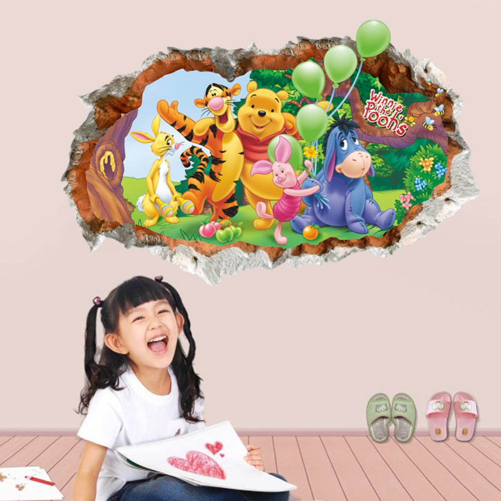 Winnie the Pooh cartoon 3D Poqiang kids room bedroom livingroom backdrop wall stickers removable waterproof home docor PVC ...