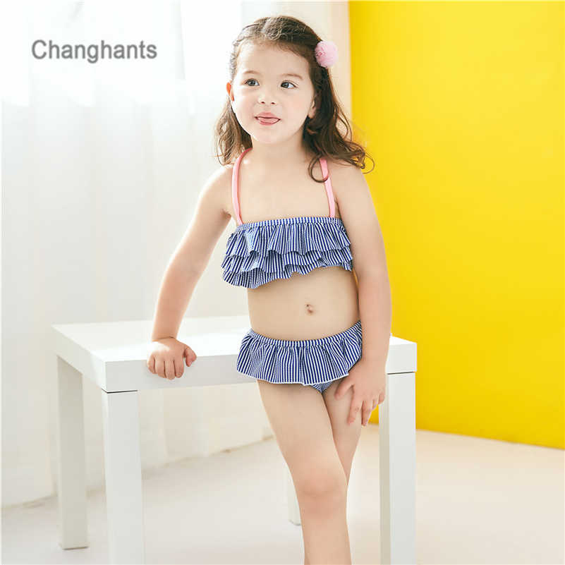 03eab92c2c New Model Baby Swimwear Girls 2 Pieces Blue/Green/Orange Stripe with Frills  Layer Kids Bikini set Children Tankini 2-8Y