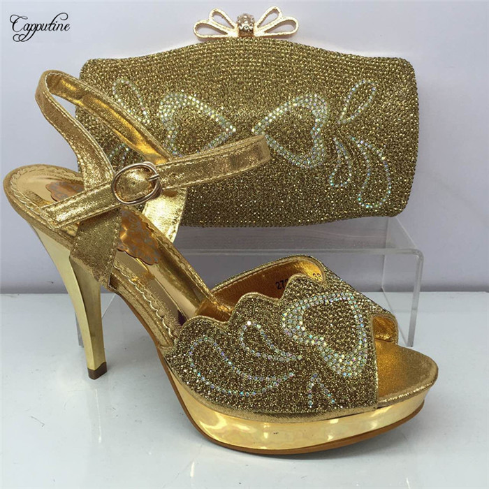 New fashion gold thin heel pump shoes with evening bag set matching matching for party dress GY11 heel height 10cm